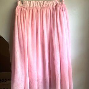 "Tulle skirt, ankle length on me (I'm 5'10"")"